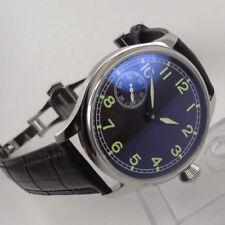 44mm Parnis Black Dial Luminous Marks 6497 Hand WInding Movement mens Watch