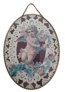 "Vtg Cupid Cherub Angel Oval chain frame valentine wall Art Victorian Floral 11"""