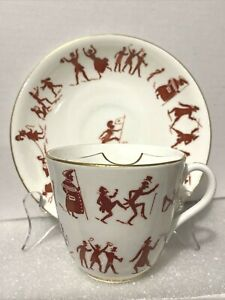 Rare 19th C Humorous Bodley Moustache Cup & Saucer English Staffordshire