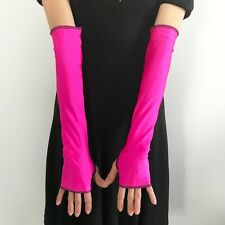 Neon Pink Arm Warmers Shiny Fingerless Gloves Elbow Length Cosplay Spandex M24