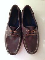 POLO SPORT Ralph Lauren Brown Leather Casual Boat Shoes Mens US Size 9