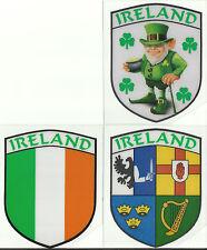 Set of 3 Ireland Irish Shield Shape Internal Car Window Sticker Decals