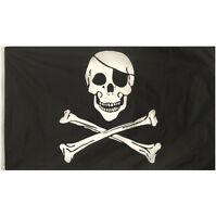 LARGE 5FT X 3FT SKULL & CROSSBONES JOLLY ROGER PIRATE SHIP FLAG F77 016