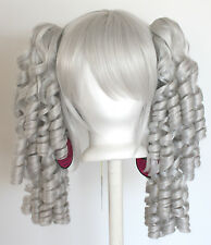 18'' Ringlet Curly Pig Tails + Base Silver Gray Cosplay Lolita Wig NEW