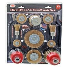 """13pc Wire Wheel & Cup Brush Set Stainless Steel 1/4"""" 6mm Shank 6000 RPM #82430"""