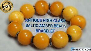 ANTIQUE LAST CENTURY HIGH CLASS NATURAL BALTIC RICH COLOR AMBER BRACELET 45 G