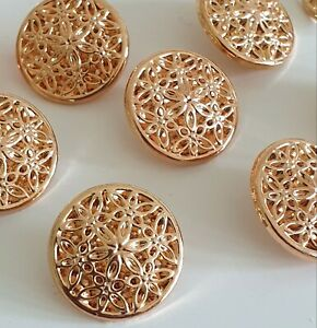 Rose Gold Filigree Metal Button with Shank 20mm Size 32