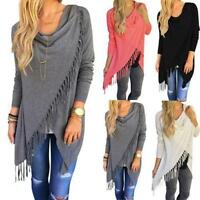 Women Irregular Tassel Knitted Cardigan Loose Sweater Outwear Jacket Poncho Coat