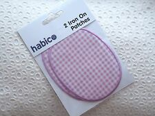 Pack of 2 Lilac Gingham Sew On Iron On Elbow Knee Patches Jacket Jumper Blazer