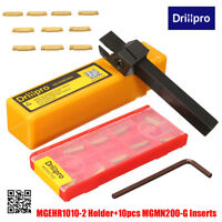 10pcs MGMN200 Carbide Inserts + MGEHR1010-2 Grooving Lathe Turning Tool Holder