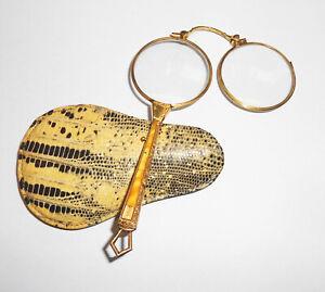 Old Lorgnon Lorgnette Stielbrille Reading Aid Glasses With Seltenen Case