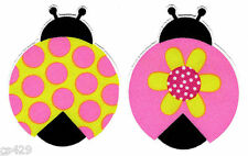 """2""""  LADYBUGS INSECT PINK & GREEN  POLKA DOT FLOWER  SET FABRIC APPLIQUE IRON ON"""