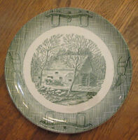 Scio Currier & Ives Old Mill With Oxen Yoke & Plow Green Dinner Plate