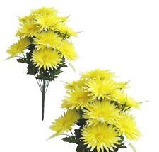 """Light Yellow 16-Gerbera Mums 21"""" Bouquet Silk Flower Home Office Wedding Decor"""