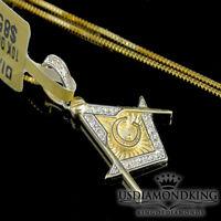 MEN'S WOMEN'S 10K YELLOW GOLD .10CT GENUINE REAL DIAMOND MASONIC CHARM NECKLACE