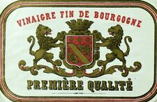 1870's-80's Vinaigre Fin De Bourgogne Wine Bottle Label Vintage original F99