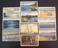 10 postcards lot Greetings WHITEHALL, Michigan 1930's-50's, sailing, White Lake
