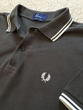 GORGEOUS FRED PERRY RETRO STYLED POLO SHIRT BROWN / CREAM S SMALL