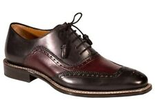 NEW Mezlan Custom Cadiz Graphite Burgundy Oxfords Mens US 9 Tassle Laces Leather