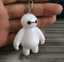 Movie White Big Hero 6 Baymax Robot Bayma Keychain With Lamp Kids Toy Keyring