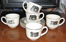 5 Prinknash Bewick's Beastes Cups & Saucers Elephant/Rhino/Lion/Zebra MINT!
