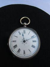 Herren Taschen Schlüsseluhr, 800er Silber, Emailleziffernblatt und Eisenzeiger,