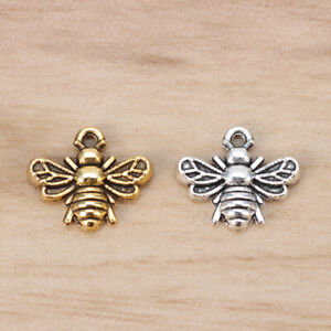 50 x Tibetan Silver/Gold Tone Bumble Bee Honeybee Insects Charms Pendants Beads