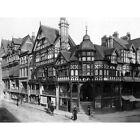 The Cross And Rows Chester Cheshire England 1895 Old Bw 12X16 Inch Framed Print