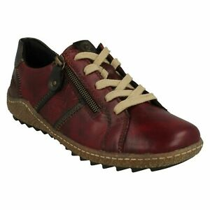 REMONTE TEX LADIES LACE UP LEATHER CASUAL FLAT RED SHOES SIZE R4706