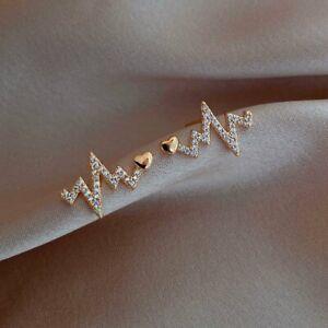 925 Silver Gold Heartbeat Cubic Zirconia Earrings Hoop Stud Dangle Drop Jewelry