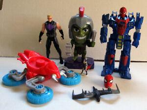 MARVEL FIGURE LOT - Spidercycle, Hawkeye, Hulk, Thor, Spider-man & Green Goblin