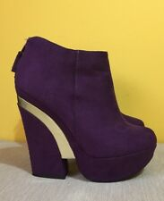 Stunning NEW LOOK Purple Faux Suede Platform Wedge Boots w/ Gold ~UK 5~