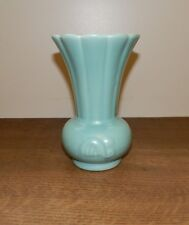 MID CENTURY Red Wing Pottery VASE 947 ART DECO Turquoise SEAFOAM GREEN Fluted