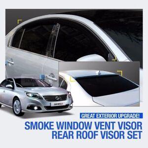 Smoke Window Vent Visor + Rear Spoiler Molding For RENAULT 2010 - 2017 Latitude