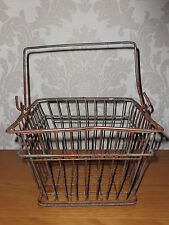 1960's Stylish Authentic Retro Square Metal Wire Egg Basket Lovely Aged Patina!
