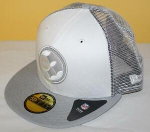 NWT 59Fifty New Era Fitted Hat Cap Pittsburgh Steelers Mesh Back NFL Cloud *T9