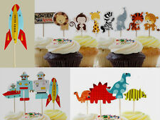 Dinosaur/ Space Robot/ Animal Cupcake Pick/ Flag Toppers Birthday Party Decor