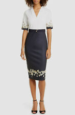 $697 Ted Baker London Women's Blue Pearl V-Neck Belted Sheath Dress Size 3
