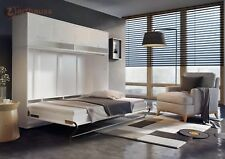 Horizontal Hidden Fold Away Pull Out Murphy Wall Bed Storage 120cm White Gloss