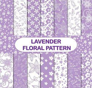 LAVENDER FLORAL PATTERN SCRAPBOOK PAPER - 14 x A4 pages