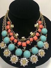 3pc Lot J CREW Gold & Stone Statement Necklaces
