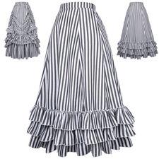 Ladies Victorian Vintage Gothic High Waist Stripe Bustle Ruffled Steampunk Skirt
