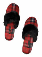 VICTORIA'S SECRET BLACK RED PLAID FUZZY COZY SATIN SLIPPERS LARGE 9 10 POUCH
