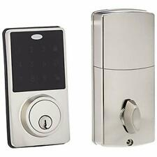 AmazonBasics Electronic Deadbolt Door Lock Modern Satin Nickel New Ships Fast🚀