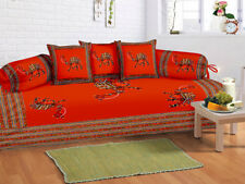 Indian Camil Print Red Diwan Set Diwan Cover Cushion Covers Bolster Covers Set