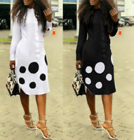 Women Long Sleeves Polka Dot Casual Club Business OL Shirt Blouses Dress