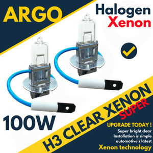 H3 12V 100W HALOGEN BULB FOR CAR TRUCK TRACTOR RALLY ETC UPGRADE X 2 PCS