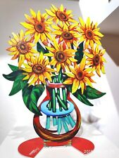 David Gerstein Metal Art Sunflower Flowers Modern Vase Sculpture- Small