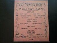 R.A.F. STATION , FORD . XMAS DINNER 1943 , HISTORY , WORLD WAR II , SOUVENIR