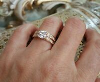 women 14k yellow gold over diamond vvs1 round engagement wedding band bridal set